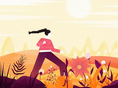 Autumn illustration autum flowers girl illustration