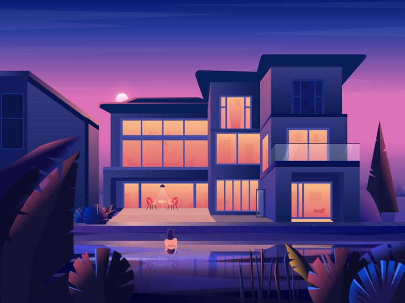 My Dream House morning light night scene landscape buliding design illustration