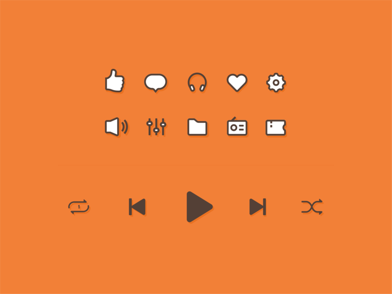 Music Icons heart play flat ui vector music app illustration icon design