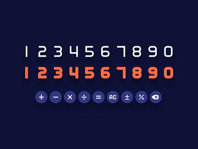 numerical font set symbol sign font number design daily ui 004 calculator vector ui typography