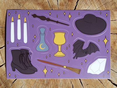 Witch's Toolbox Sticker Sheet wicca pagan witchy sticker sheet halloween stickers witch