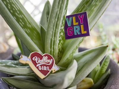 VLY GRL Enamel Pins product design design pins pin game enamel pins illustration alisa damaso vly grl valley girl