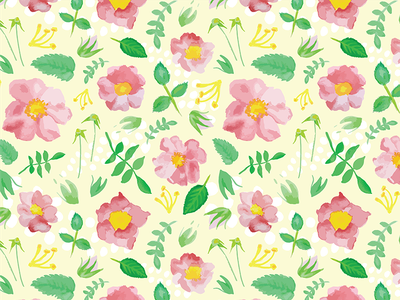 California Rose Pattern illustration graphic design surface design flowers watercolor watercolor patterns 100 day project