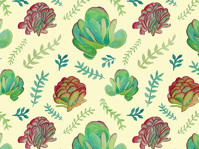 Paddle Plant Pattern paddle plant succulents pattern illustration pattern design surface design watercolor pattern pattern watercolor succulents