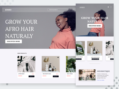 Ecommerce Home Page blackwomen african afro hair userinterface design adobexd