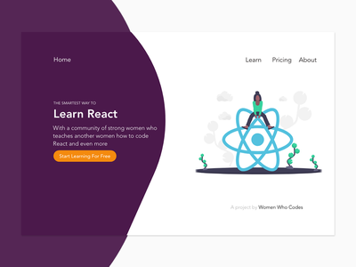 Women Who Codes web coding react react.js women landing page landing page concept prototype vector xd adobe ux ui one page userinterface illustration branding adobexd concept design
