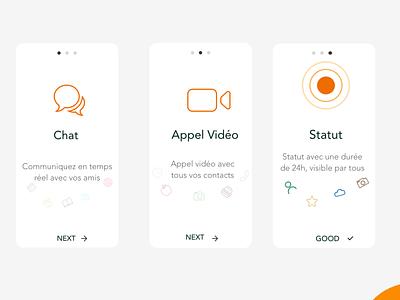 Messaging App Walkthrough userinterface adobe one page branding design illustration logo xd concept adobexd