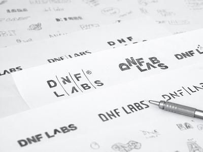 Logo design sketches for DNF LABS type logo clean logo sans serif hand lettering lettering custom type logotype logodesigner logo design logodesign logo