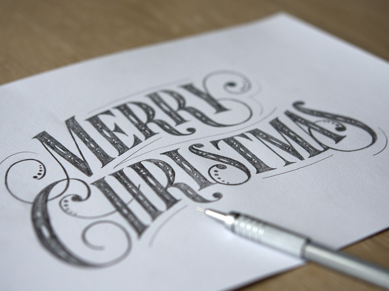 Lettering sketch merry christmas typography hand-made hand-drawn type type custom type hand lettering lettering