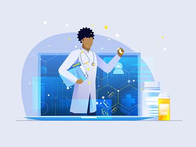 Medicine message bottle healthcare gradient gradient design details medical motion aftereffects character animation 2d animation vector colors doctor drugs medicine illustration 2d