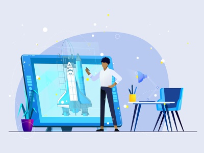 Design & constructing details rocket wacom plants office gradient employee character motion colors vector aftereffects animation character animation 2d animation illustration