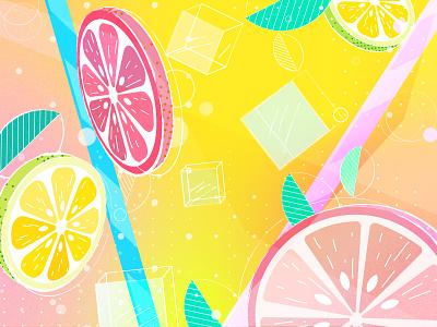 Summer mood bubbles juice summer lemon oranges ice illustration art vector design colors 2d illustration