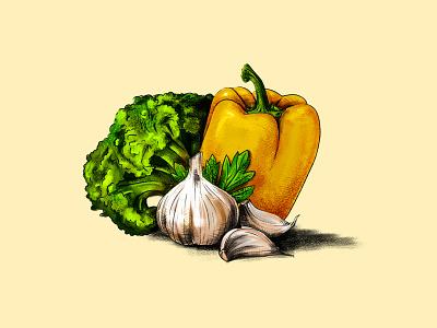 Vegetables garlic broccoli pepper logodesign veggie food healthy vegetables employee design logo 2d animation colors 2d illustration