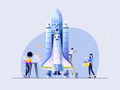 Creating and developing a business construction rocket vector layers shape motion flat employee design colors characterillustration character animation characterdesign character application animation aftereffects 2danimation 2d illustration