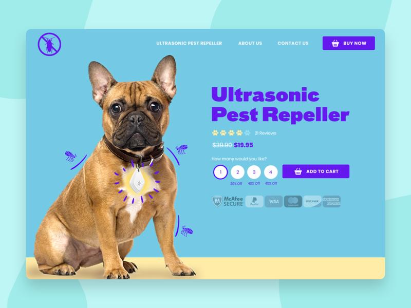 🦟 Ultrasonic Pest Repeller 🐶🦟 pet care colorful pet dogs ecommerce landing page clean ui webdesign website