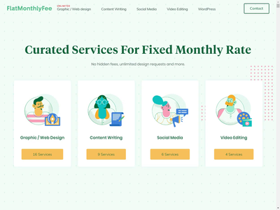 Flat Monthly Fee - Curated Services for For Fixed Monthly Rate😀