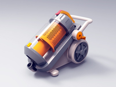 Vacuum Cleaner ui icon cleaner 3d orange,rendering