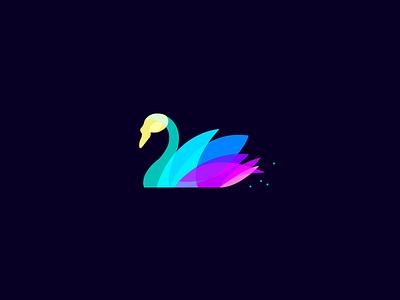 Swan graphic blue design flat logo ui swan icon