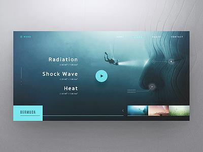 Bermuda player video dashboard design ux flat icon sea blue app web ui
