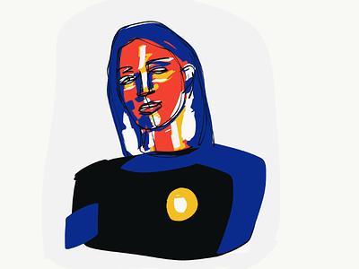 1/365 tricolour impressionist portrait adobe draw illustration