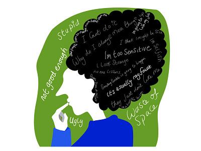The Inner Critic catastrophising overthinking mental health awareness mental health illustration
