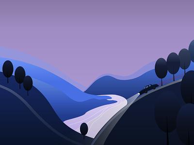 Twilight Drive twilight evening rivera landscape car driving illustration illustrator