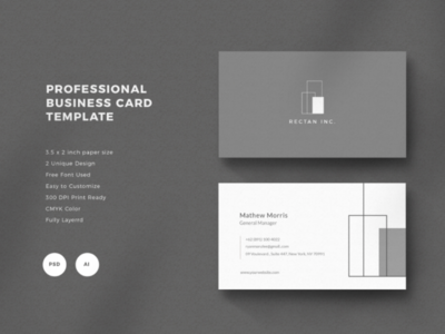 Professuona Business Card Template - 01 graphic design photoshop cmyk architecture minimalist business name card mockup template professional layout business card