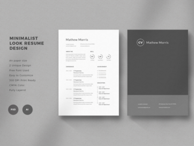 Minimalist Look Resume Design - 01 graphic design experience a4 professional photoshop free minimalist design resume cv resume