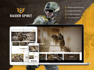 Raider Spirit | Airsoft Club & Paintball WordPress Theme woocommerce weapon strikeball store sport shop responsive paintball military game extreme event club booking airsoft
