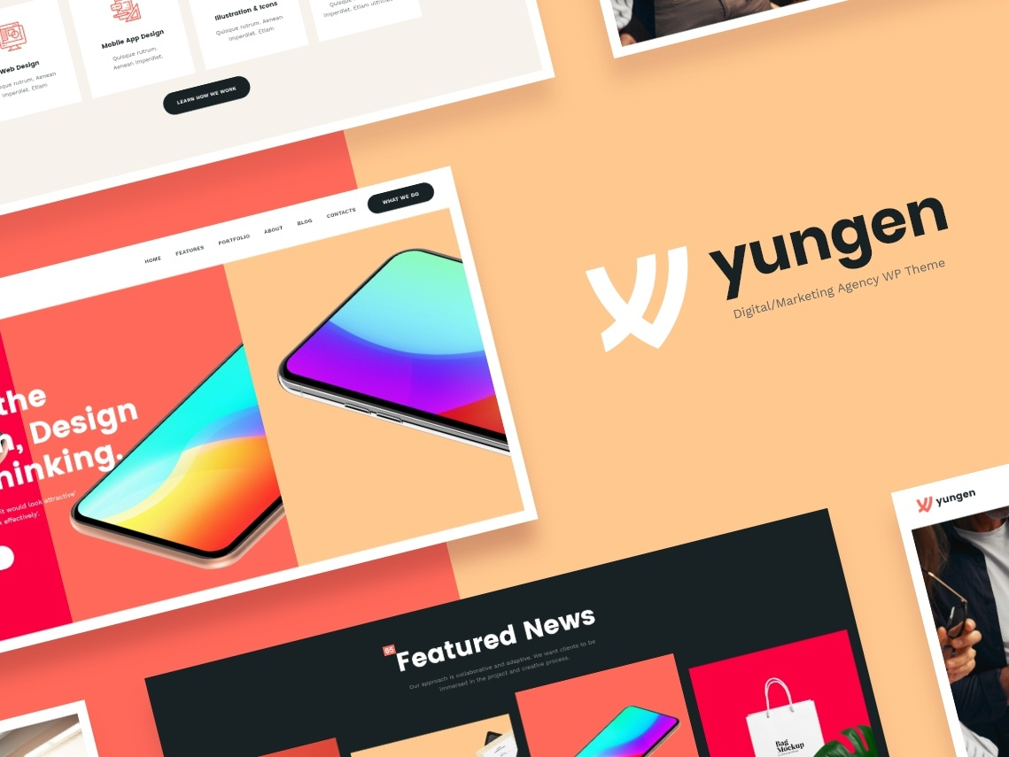 Yungen | Modern Digital Agency Business WordPress Theme design webdesign web design wordpress design wordpress themes wordpress theme wordpress