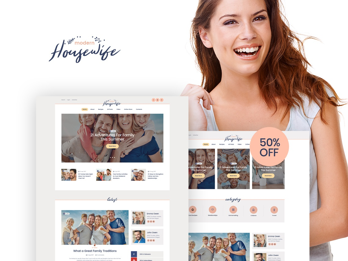 Modern Housewife | Women & Family WordPress Blog Theme blogging business webdesign blog wordpress themes web design wordpress wordpress theme