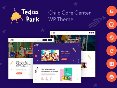Tediss | Play Area & Child Care Center XD Template design wordpress design webdesign wordpress themes web design wordpress wordpress theme
