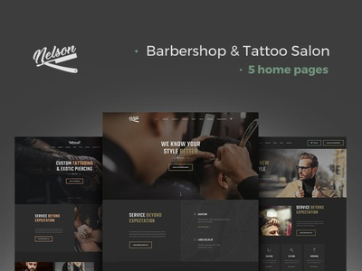 Nelson - Barbershop & Tattoo WordPress Theme wordpress design webdesign web design wordpress wordpress theme wordpress themes
