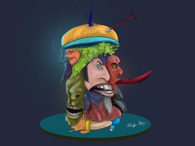 Burger hide character.