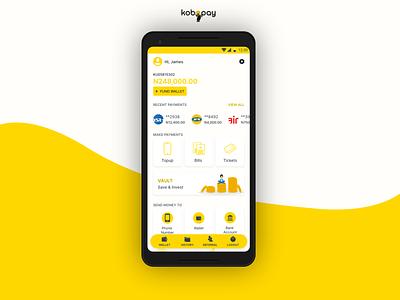 Kobopay Home mobile design design user interface uiux product design