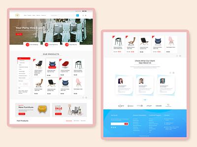 Party Hire & Renting Landing Page landingpage graphic design ui webui eventplanner partyhire webdesign website branding design