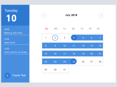 Calender Date Range Selection