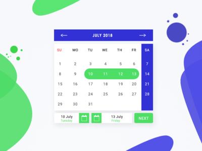 Calender Date Range Selection Month v