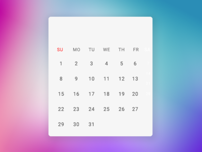 Calender with Background Gradient