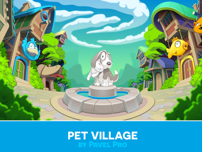 Pet Village fish illustration coreldraw vector dog cat village pets