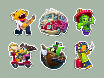 Stickers 01 illustration game vector sheep bike car cat cactus sticker