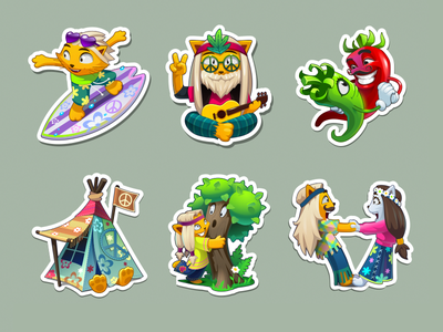 Stickers 02 illustration game vector sticker