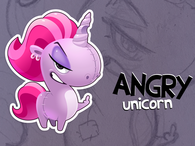 Unicorn angry vector unicorn