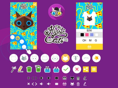 A cat in your t-shirt with big blue eyes or not custom cats icon user interface app design uiux