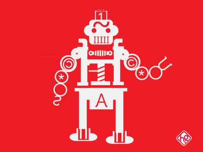 Type robot press red robot font graphic typography
