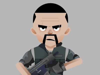 Character design process soldier army green vector illustration character design