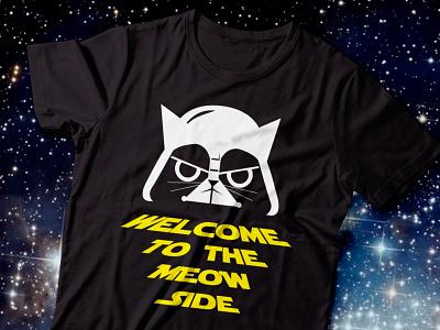 Meow Vader starwars flat vector tshirt design tshirt