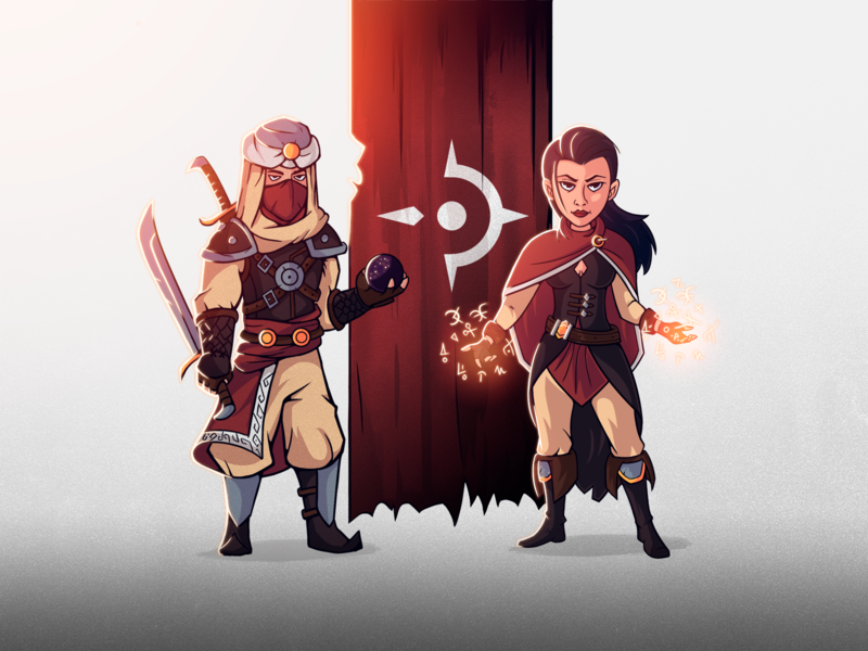 Yatech d'Kllean & Kanayoness photoshop flat illustration mage warrior character design design illustration character
