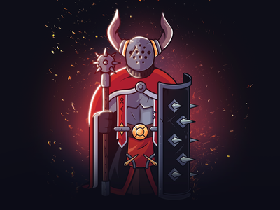 Chaos knight shield horn creative knight fantasy chaos photoshop illustrator character design art warrior design illustration character