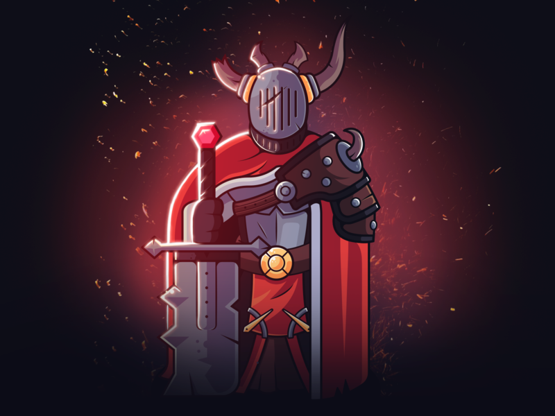 Chaos knight - swordsman knight chaos swordsman epic horns sword 2d art fantasy photoshop illustrator character design warrior design flat illustration character